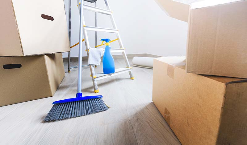 Cardboard Boxes and Cleaning Stuff. Concept of Move In Cleaning Services. Las Vegas NV
